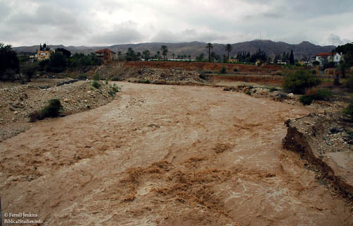 Wadi Kelt (Qilt) at Jericho after rain in the mountains of Judea. Photo by Ferrell Jenkins.