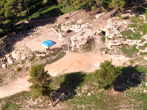"Aerial view of the ""tomb of Samson"" at Zorah. Photo by Ferrell Jenkins."