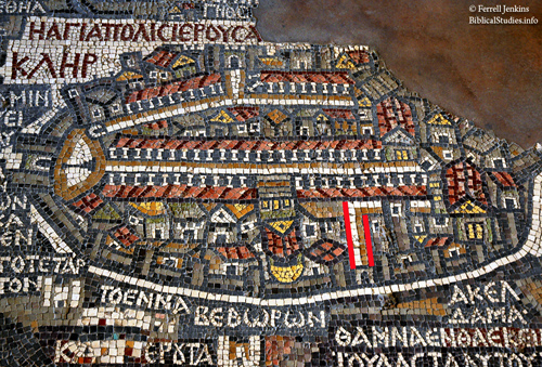 The original Madaba mosaic map with new discovery marked. Photo by Ferrell Jenkins.