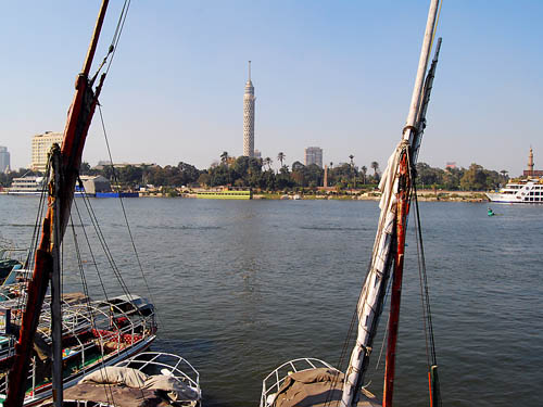 Nile River at Cairo. El Borg tower across river. Photo by Ferrell Jenkins.