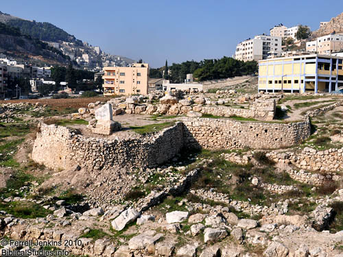 Temple of Baal-Berith in center of photo. Ebal in distance. Photo by F. Jenkins.