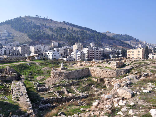 Ruins of Tell Balata (Shechem) below Mount Gerizim. Photo by Ferrell Jenkins.