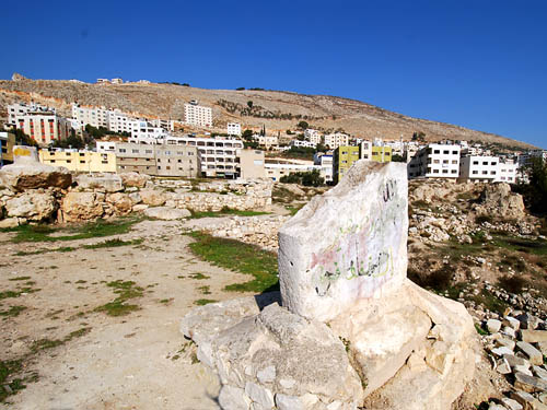 The sacred standing stone at Shechem. Photo by Ferrell Jenkins.