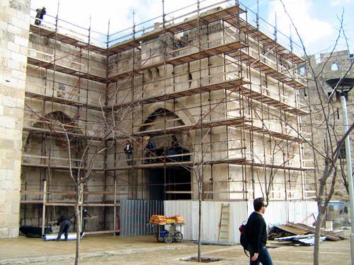 Jaffa Gate during rehabilitation. Photo: IAA.