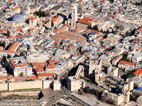Aerial view of Jaffa Gate and the Christian Quarter. Photo by Ferrell Jenkins.