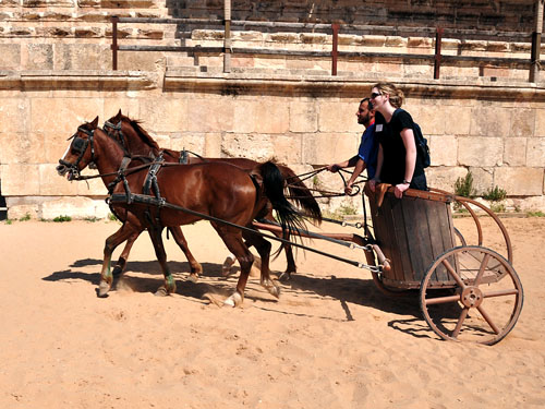 Erin gets a chariot ride at Jerash. Photo by Ferrell Jenkins.