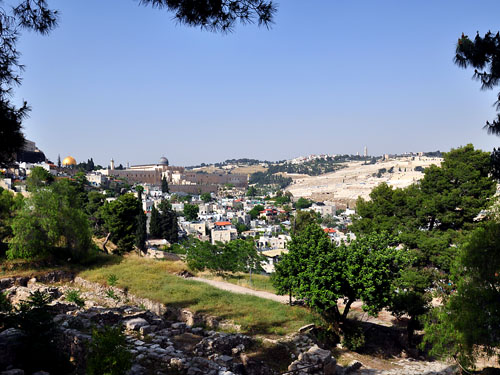 View of theTemple Mount and Mount of Olives.