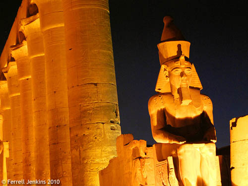 Rameses at floodlight. Luxor Temple. Photo by Ferrell Jenkins.