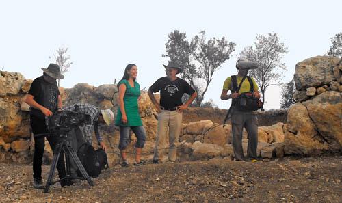 BBC filming documentary at Khirbet Qeiyafa. Photo by Luke Chandler.