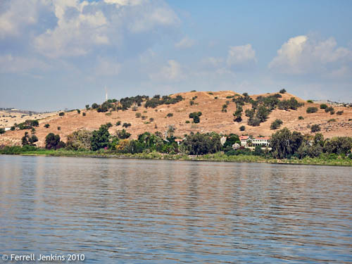 Tel Kinerot from the Sea of Galilee. Photo by Ferrell Jenkins.