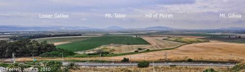 Panorama of Jezreel Valley from Megiddo. Photo by Ferrell Jenkins.
