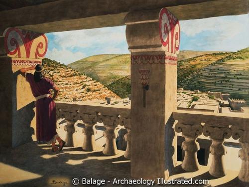 King David on his balcony. Illustration by Balage Balogh.