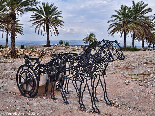 Horse and chariot sculpture at Megiddo. Photo by Ferrell Jenkins.