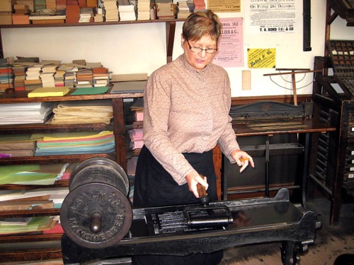 Proof press at ulster-American Folk Park. Photo by Ferrell Jenkins.