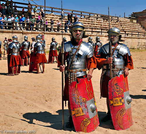 Roman soldiers at Jerash, Jordan. Photo by Ferrell Jenkins.