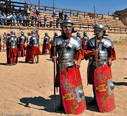 Roman soldiers at Jerash, Jordan. Photo by Ferrell Jenkins.