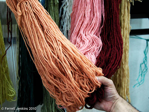 Yarn dyed with madder root. Photo by Ferrell Jenkins.