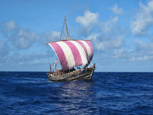 Phoenician Ship under sail in the North Atlantic. Courtesy Phoenicia Ship Expedition.
