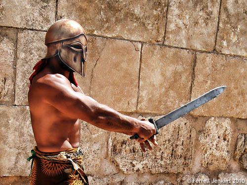 Gladiator in the RACE show, Jerash, Jordan. Photo by Ferrell Jenkins.