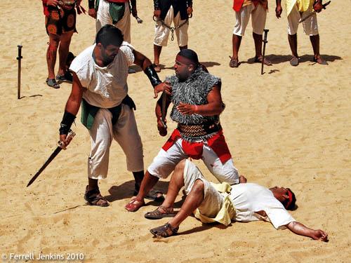 Gladiators in the Roman hippodrome at Jerash, Jordan. Photo by Ferrell Jenkins.