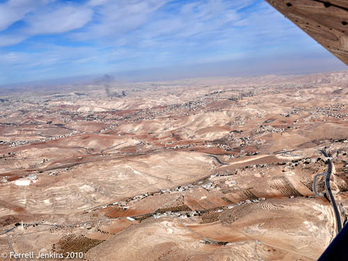 Aerial view east from over the Herodium. Photo by Ferrell Jenkins.