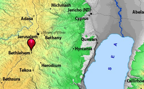 Map to show area east of the Herodium. BibleMapper image from BibleAtlas.org.