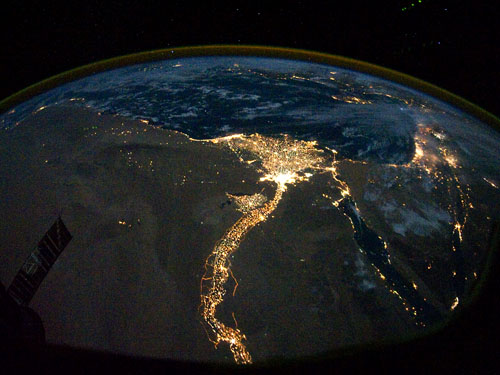 NASA Astronaut Photography of the Egypt and Israel by night.