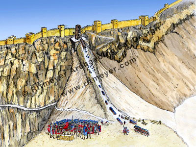 Roman siege ramp at Masada. Ritmeyer Image Library.