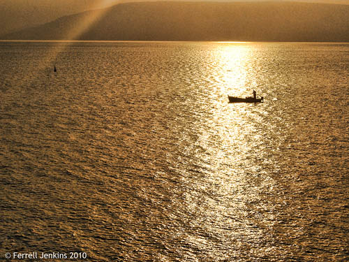 A lone fisherman on the Sea of Galilee at sunrise. View east. Photo by Ferrell Jenkins.
