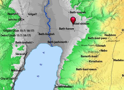 Site of Abel-Shittim in the Jordan Valley. BibleAtlas.org.