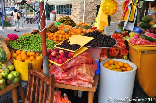 A fruit kiosk at the port of Akko (Roman Ptolemais). Photo by Ferrell Jenkins.