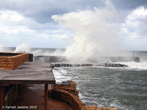 High waves at Caesarea Maritima - 12/12/09 - Photo by Ferrell Jenkins.