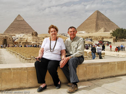 Ferrell and Elizabeth Jenkins at the Giza Pyramids.