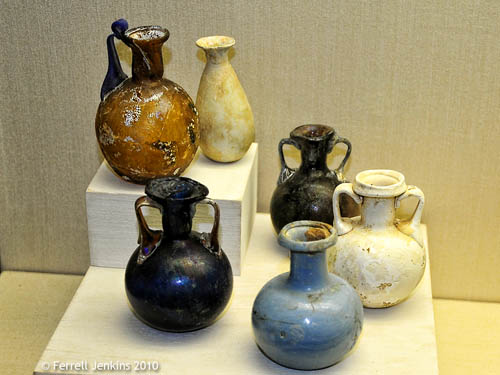 Mold-blown perfume vessels. Erezt Israel Museum. Photo by Ferrell Jenkins.