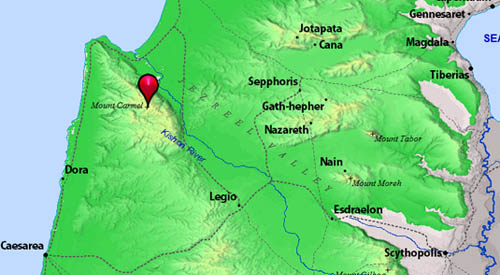 Map from BibleAtlas.org to show location of Mount Carmel.