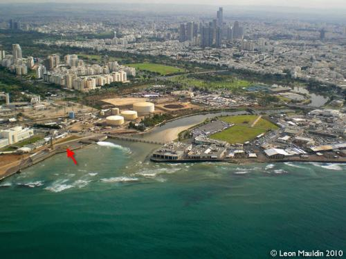 Aerial view of mouth of the Yarkon River at Tel Aviv. Photo by Leon Mauldin.