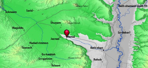 Map showing Ein Harod and Mount Moreh.