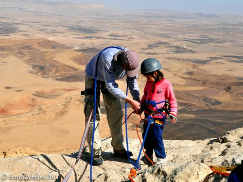 Young girl gets ready to rappel at Makhtesh Ramon Crater. Photo by Ferrell Jenkins.