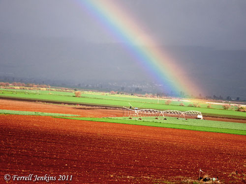 Rainbow over Hula Valley. View to Golan Heights. Photo by Ferrell Jenkins.