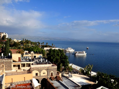The Sea of Galilee from my hotel balcony in Tiberias. Photo by Ferrell Jenkins.