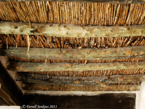 Ceiling of roof made of timber and reeds. Nazareth Village. Photo by F. Jenkins.