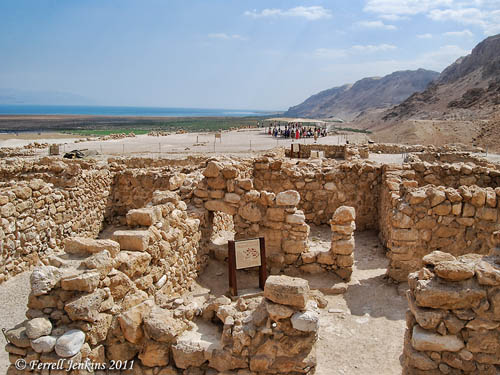 Qumran study room. NE view to Dead Sea. Photo by Ferrell Jenkins.
