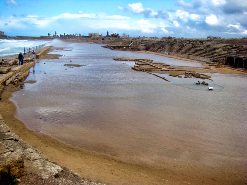 Caesarea Maritima Hippodrome standing in water. Photo by Leon Mauldin.