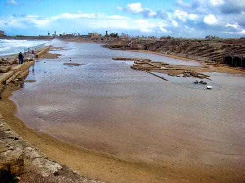Caesarea Maritima Hippodrome standing in water. Photo by Leon Mauldin.