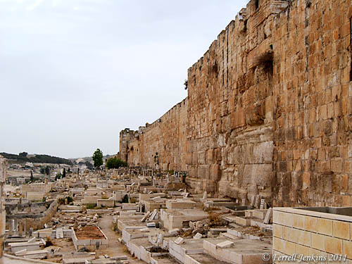 Muslim Cemetery along the East Wall of the Old City near Lion's Gate. Photo by Ferrell Jenkins.