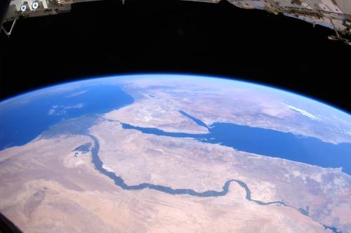 Over the Sahara Desert from space. Doug Wheelock. NASA.