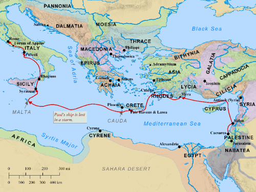 Paul's Voyage to Rome. Map by BibleMapper.