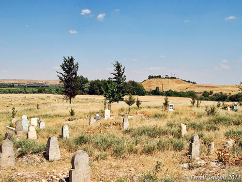 Cemetery at Carchemish, Tell in the distance. Photo by Ferrell Jenkins.