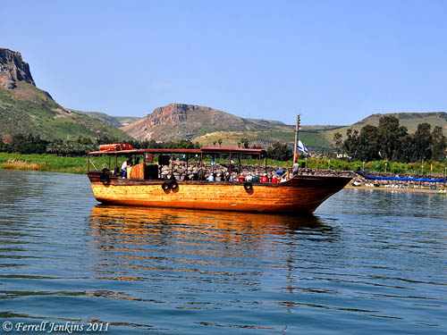 Boat approaches the region of Genesaret. Photo by Ferrell Jenkins.