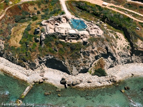 Aerial view of the Crusader fortress of Apollonia. Photo by Ferrell Jenkins.